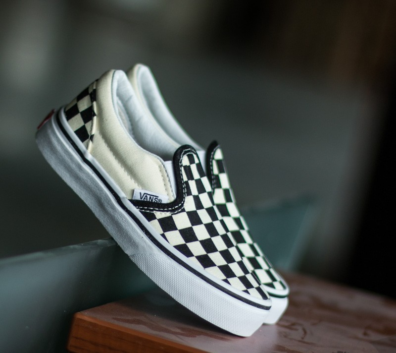 186e68c61fd924 Vans K Classic Slip-On (Checkerboard) Black  White