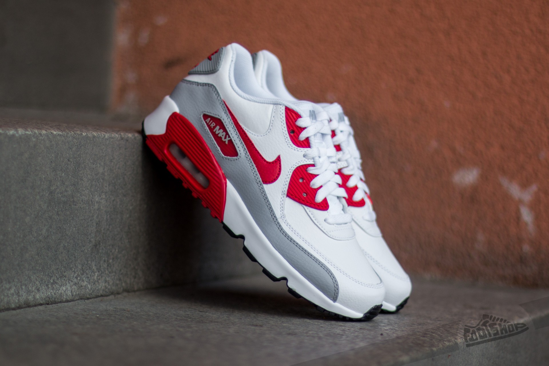 best service 75237 89039 Nike Air Max 90 Leather (GS). White  University Red-Wolf Grey-Black