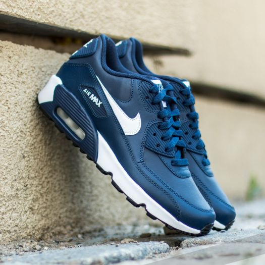 Nike Air Max 90 Leather (GS) Midnight Navy  White-Black  b2b04e6324