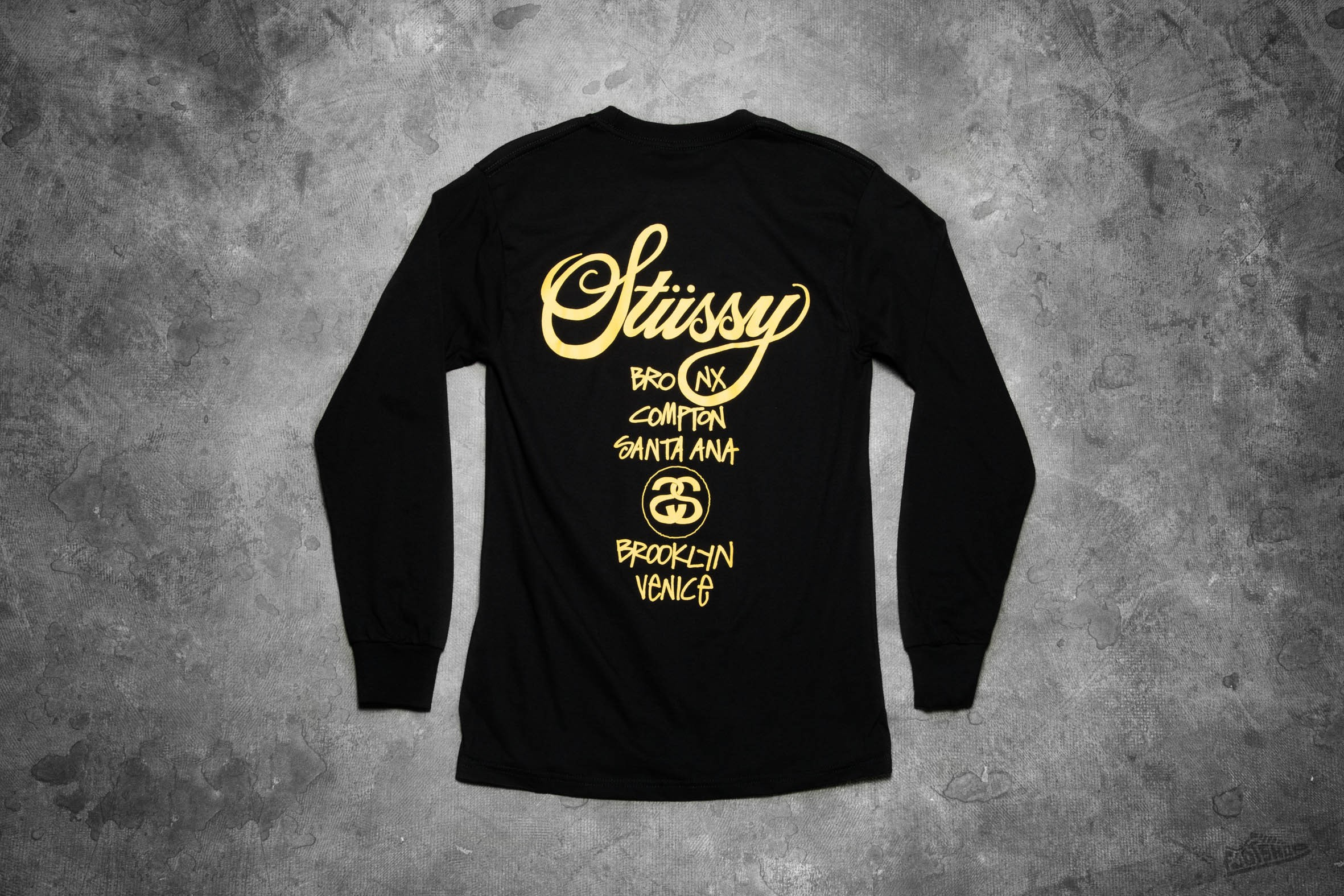 Stüssy World Tour Long Sleeve Tee Black Yellow | Footshop
