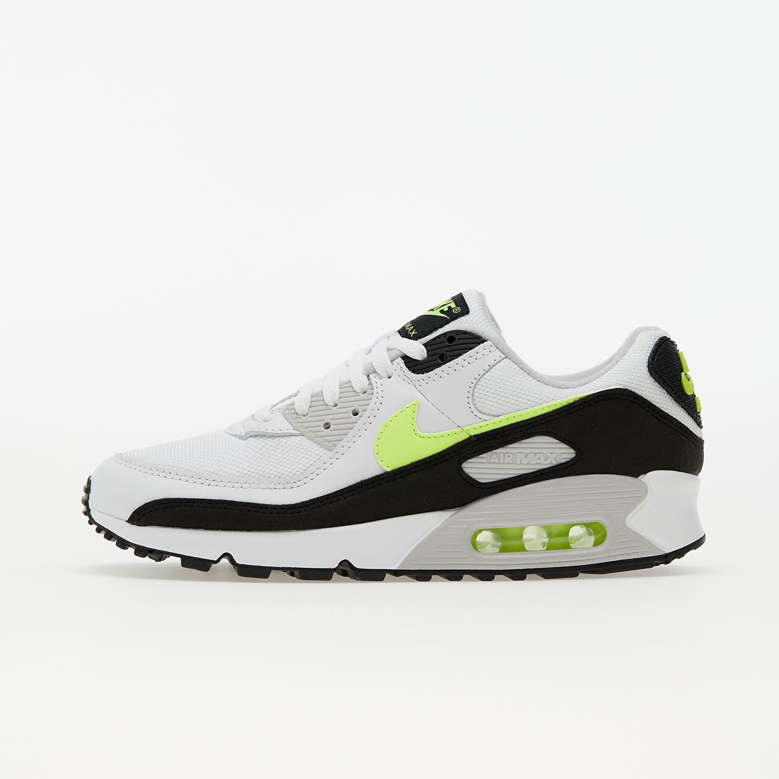 Nike Air Max 90 White/ Hot Lime-Black-Neutral Grey | Footshop