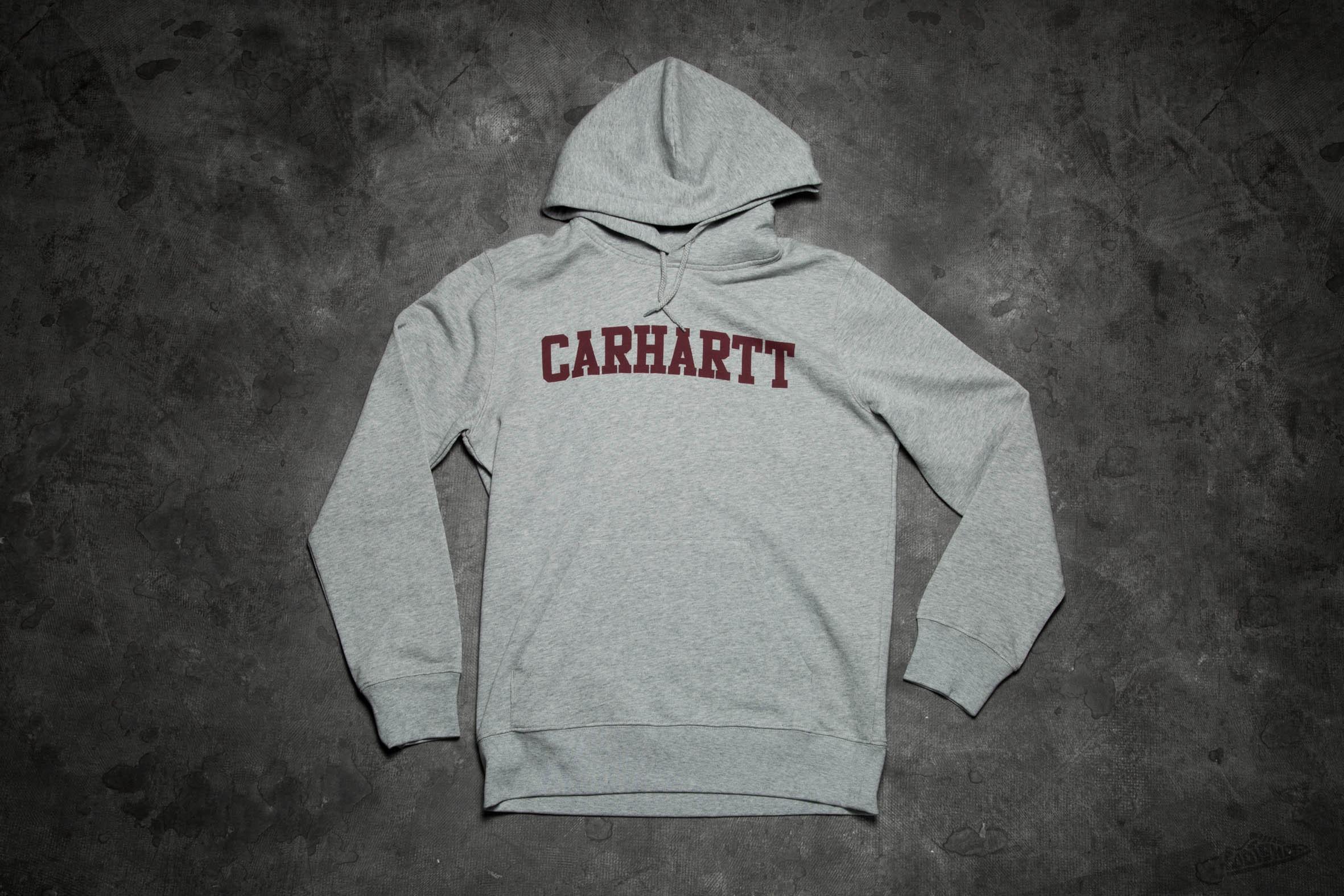 dfd9f341ddc Carhartt WIP Hooded College Sweatshirt Grey Heather/Cordovan ...