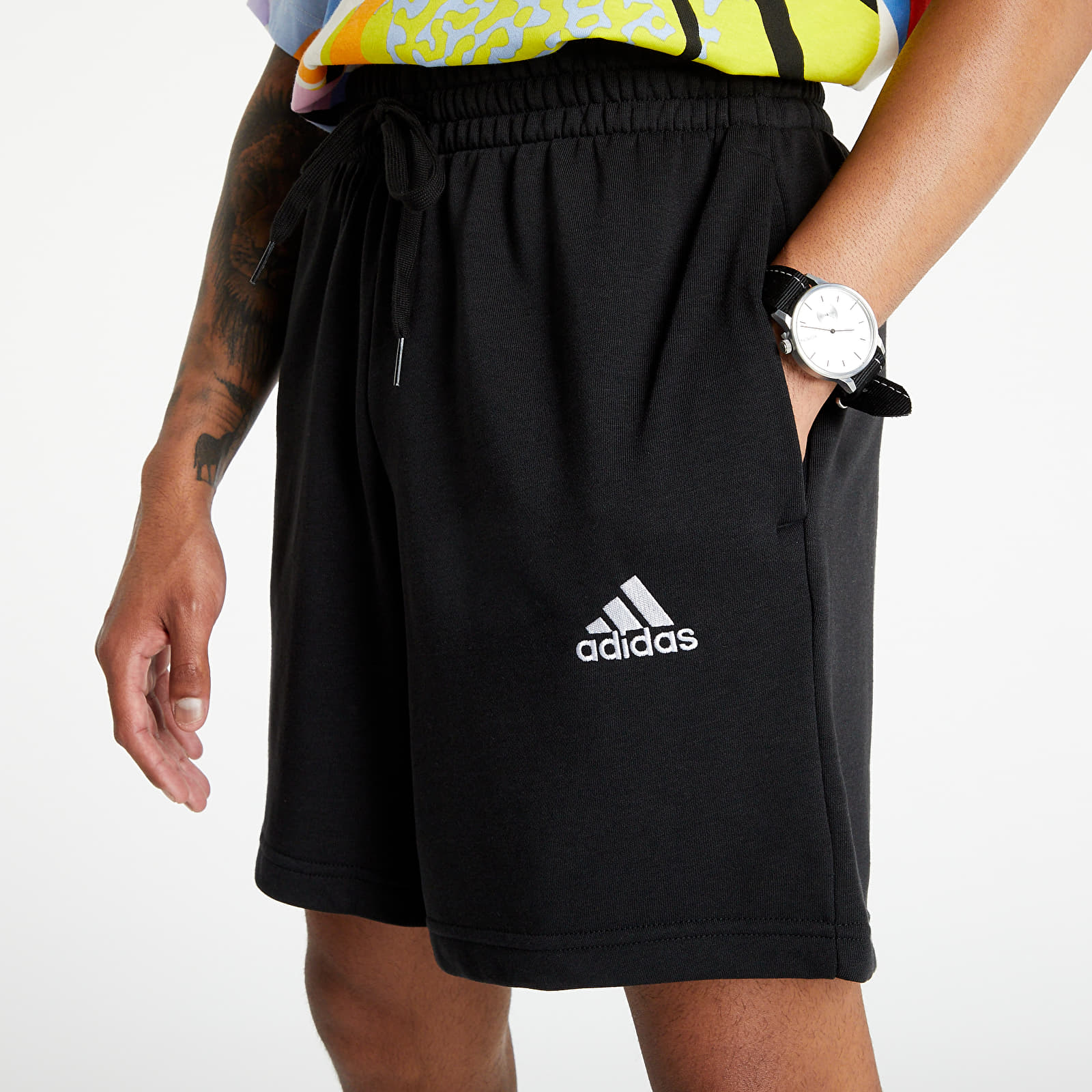adidas Performance Essentials French Terry Small Logo Shorts Black/ White