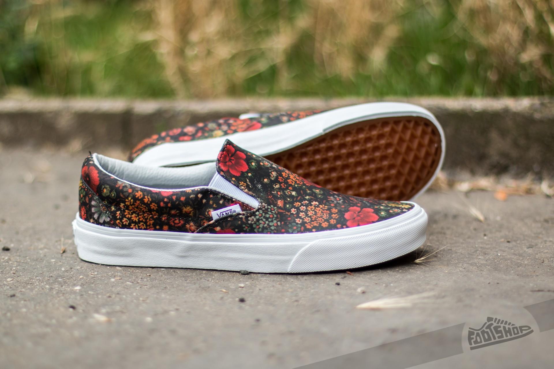 Vans Classic Slip On (Floral Leather) Multi True White | Footshop