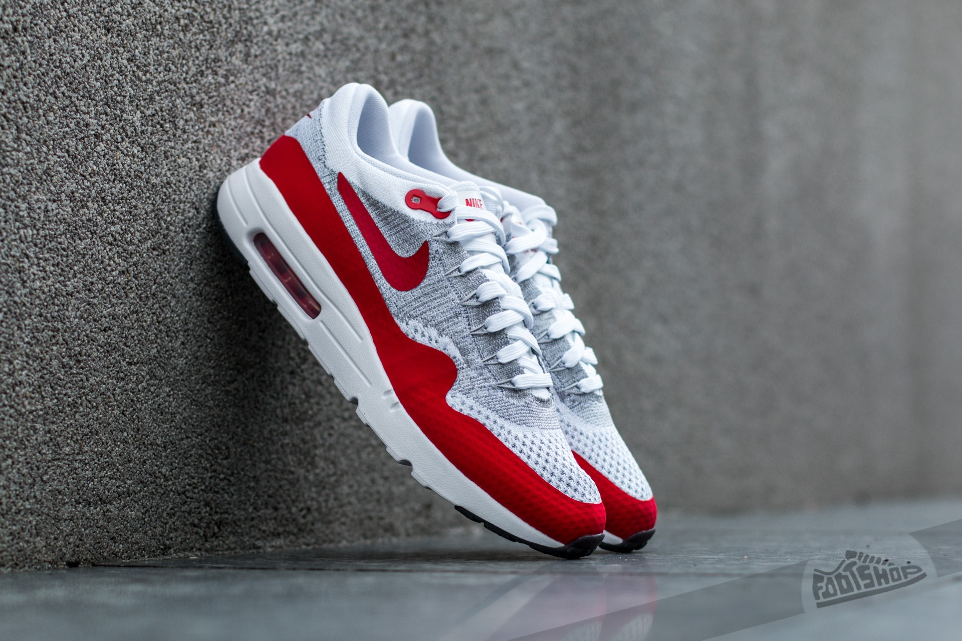 0fdca63e097 Nike Air Max 1 Ultra Flyknit White  University Red-Pure Platinum-Cool Grey