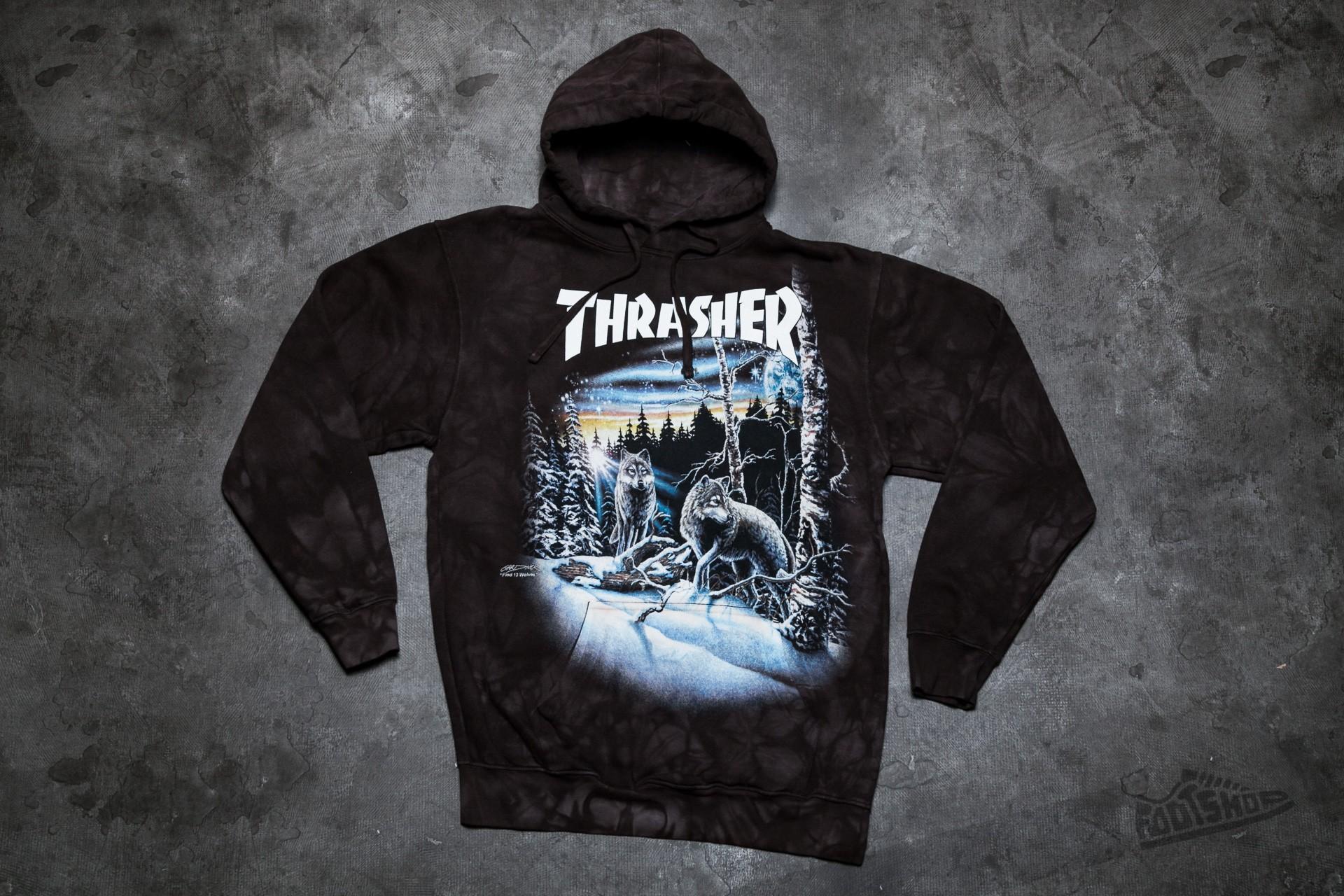 Thrasher 13 Wolves Hood Black Tie-Dye  1e31b3324