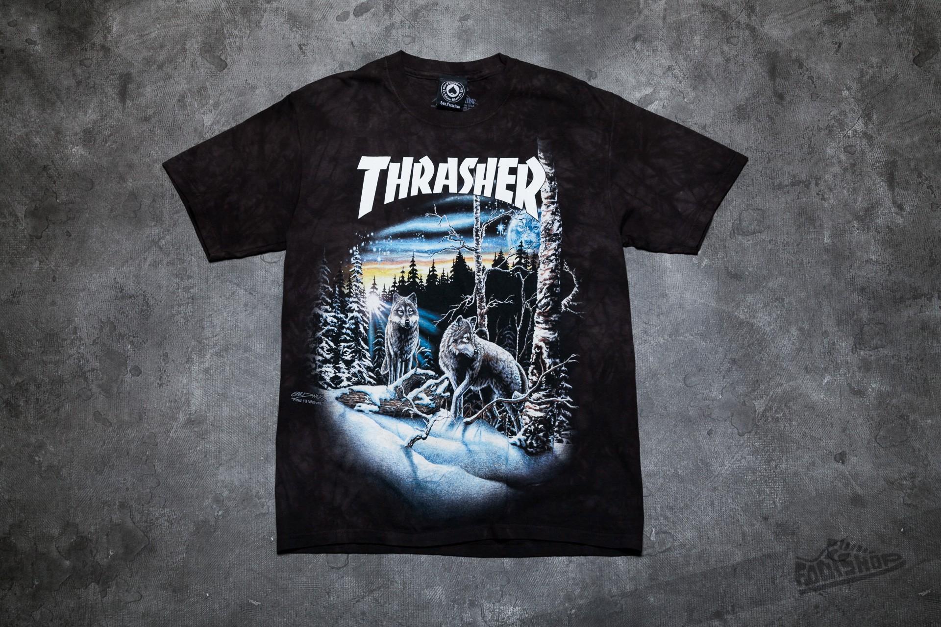 69c67726237e Thrasher 13 Wolves T-shirt Black Tie-Dye