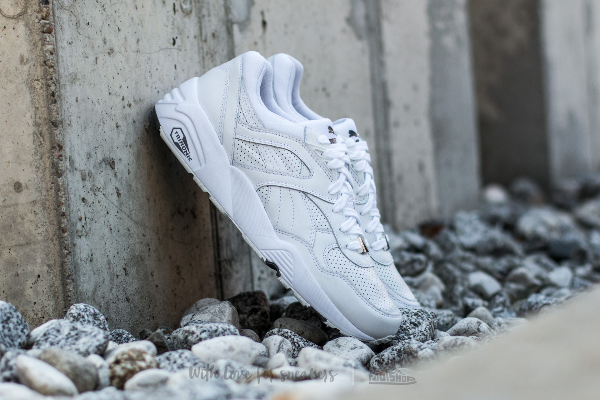 Puma R698 Core Leather White-White-Steel Gray | Footshop