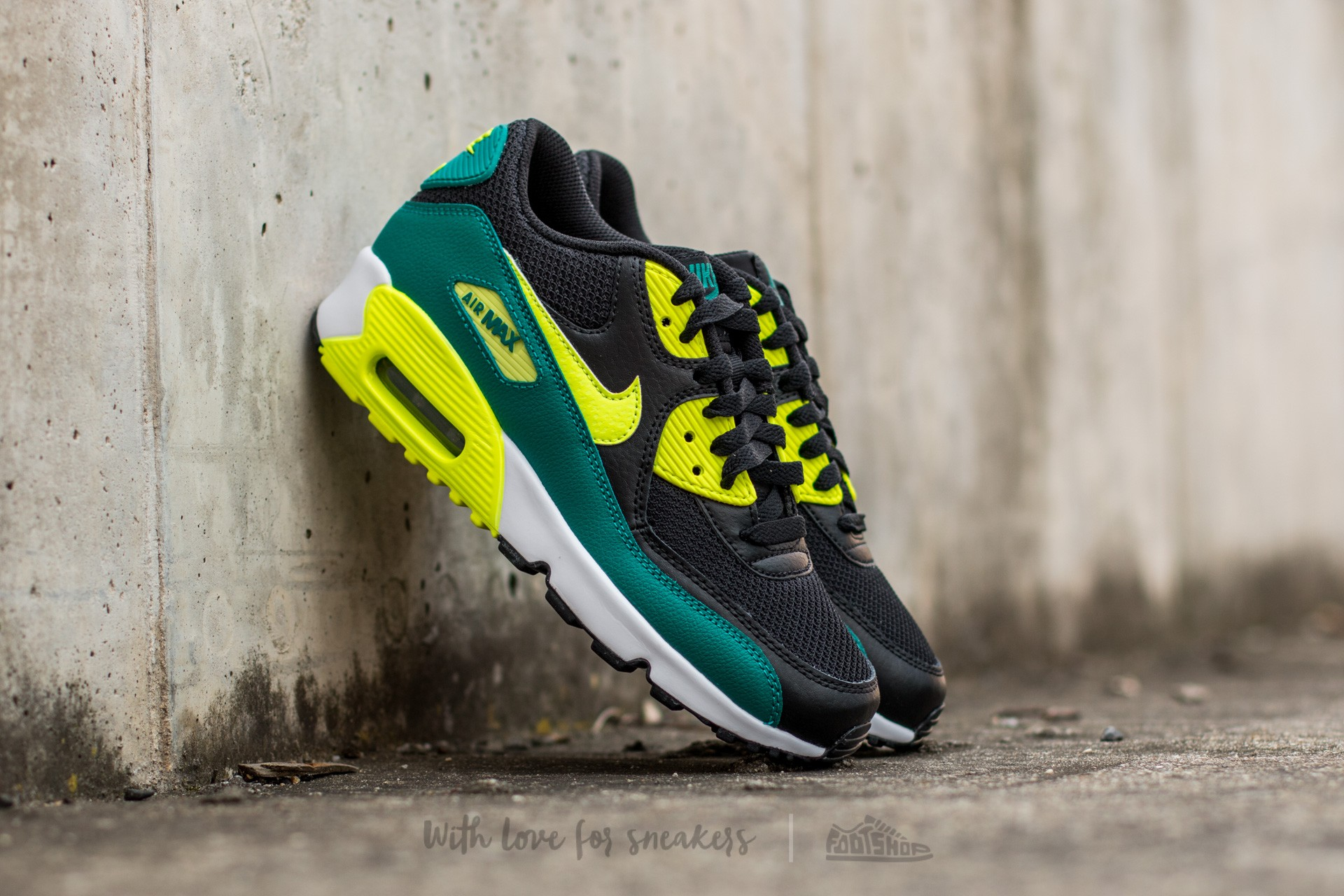 newest collection e3e31 0ab75 Nike Air Max 90 Mesh (GS) Black/ Volt-Rio Teal-White | Footshop