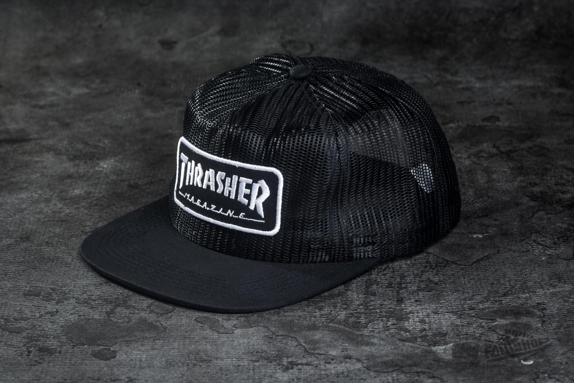 0567b3b3d27 Thrasher Magazine Logo Mesh Black  White