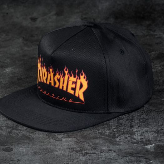 Thrasher Flame Logo Structured Snapback Black  a3a4e171dcb