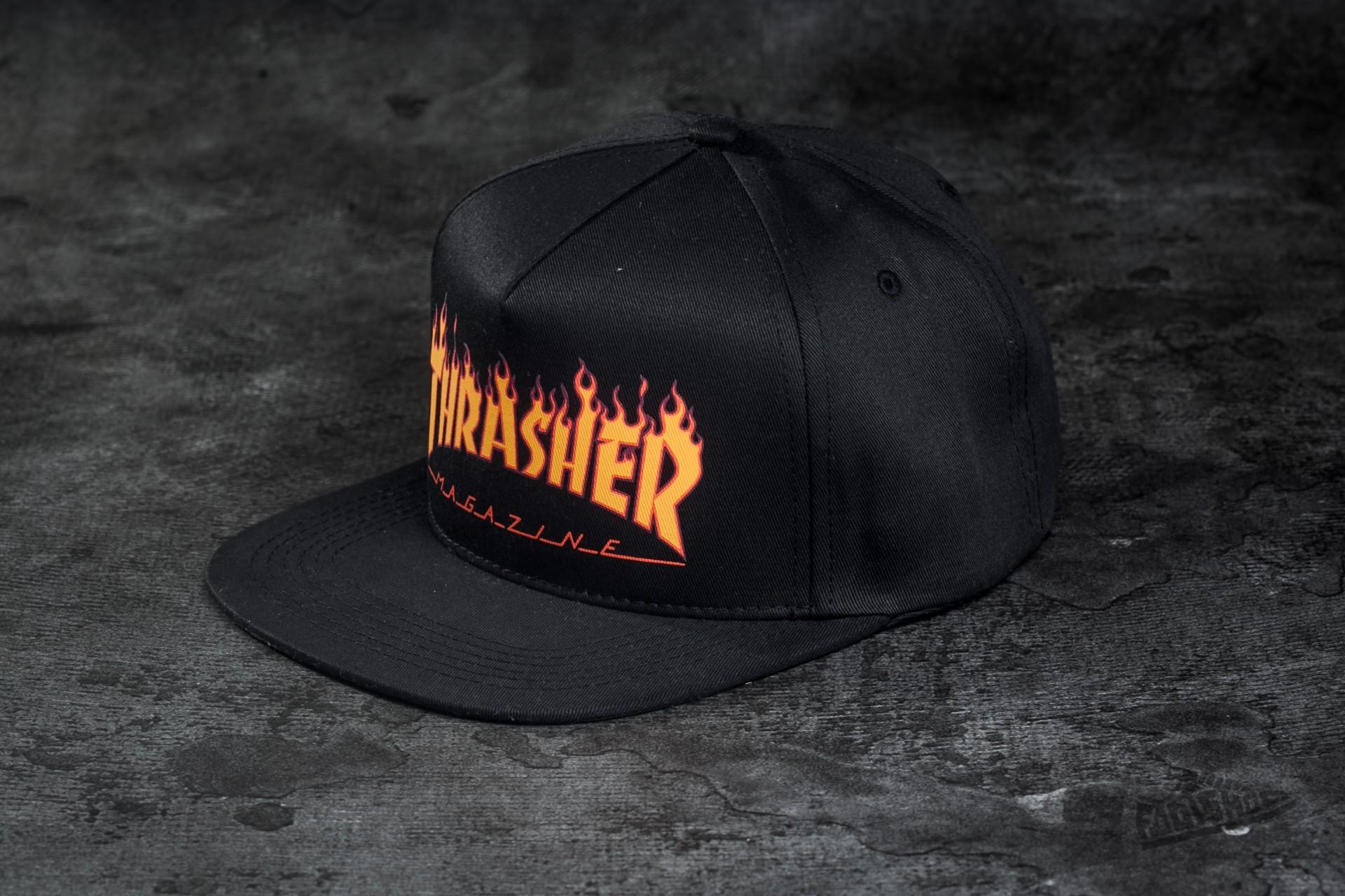 5ac487ceb07 Thrasher Flame Logo Structured Snapback Black