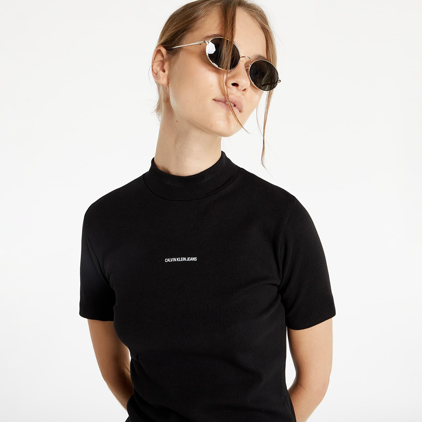 Levně Calvin Klein Jeans Micro Branding Rib Baby Tee Ck Black