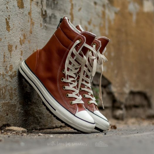 Converse Chuck Taylor All Star Hi Rise Boot Leather + Fur Antique Sepia Parchment Egret | Footshop