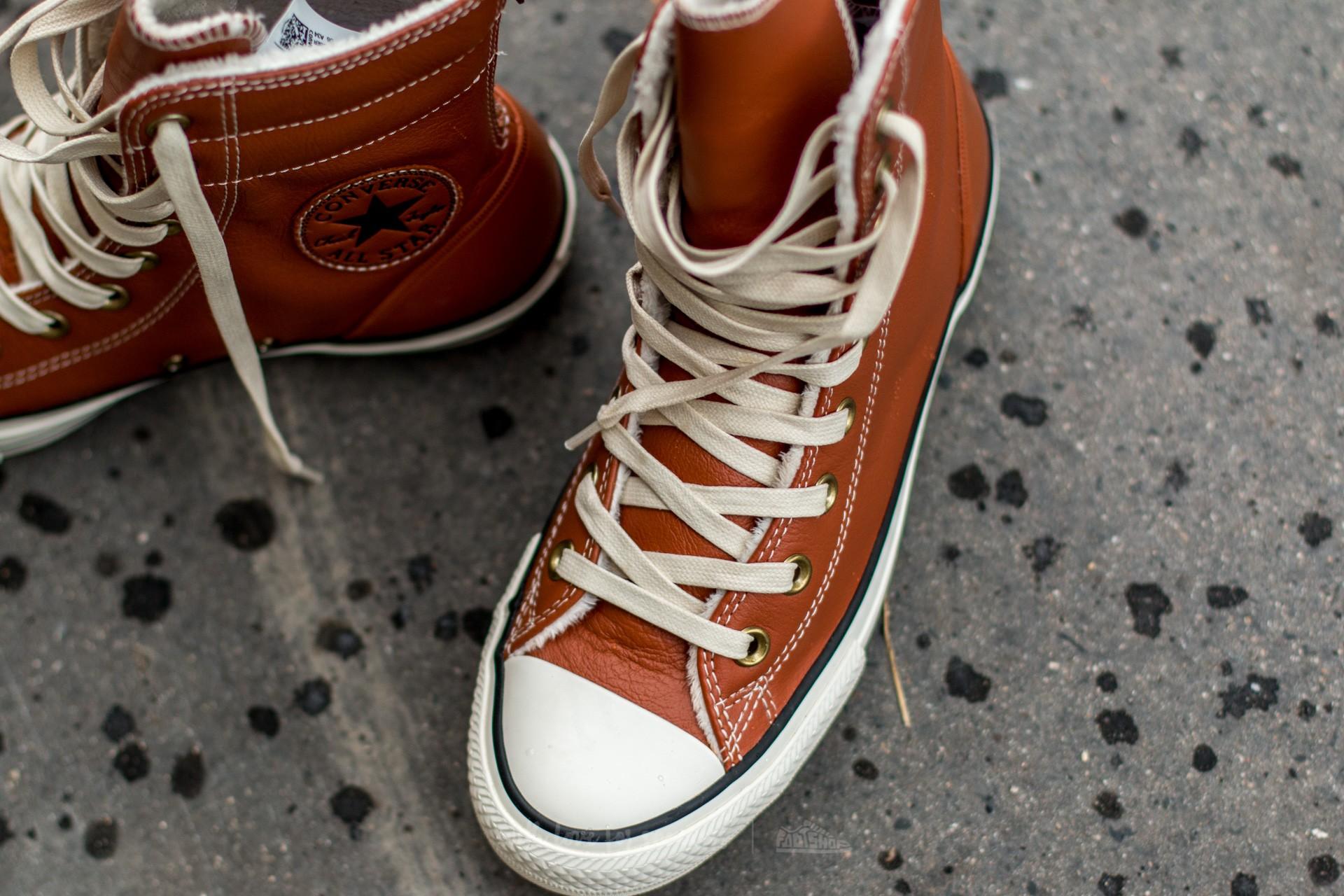 Converse Chuck Taylor All Star Hi Rise Boot Leather + Fur Antique Sepia Parchment Egret | Footshop