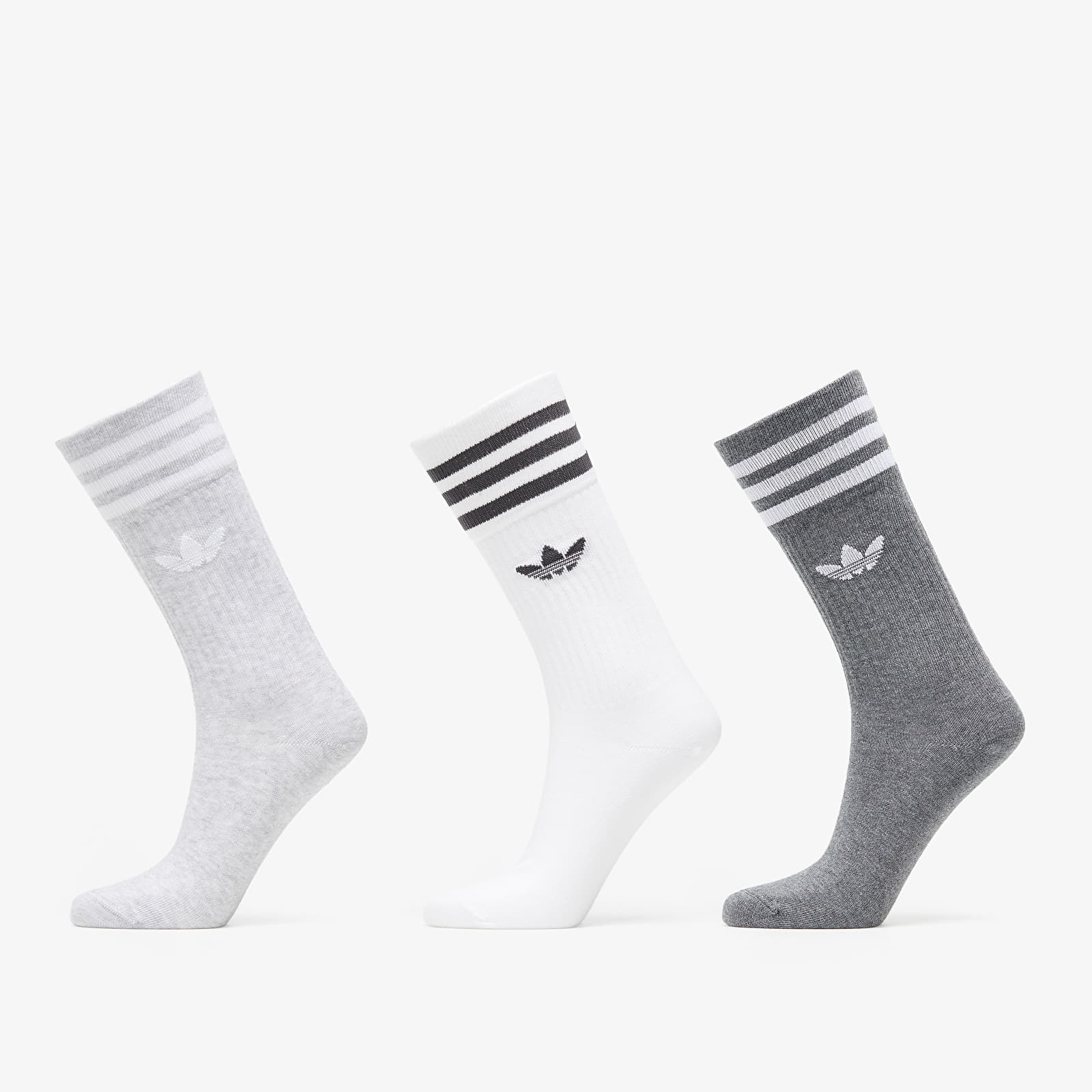 adidas Solid Crew Sock 3 Pack White/ Lgreyh/ Dgreyh EUR 35-38
