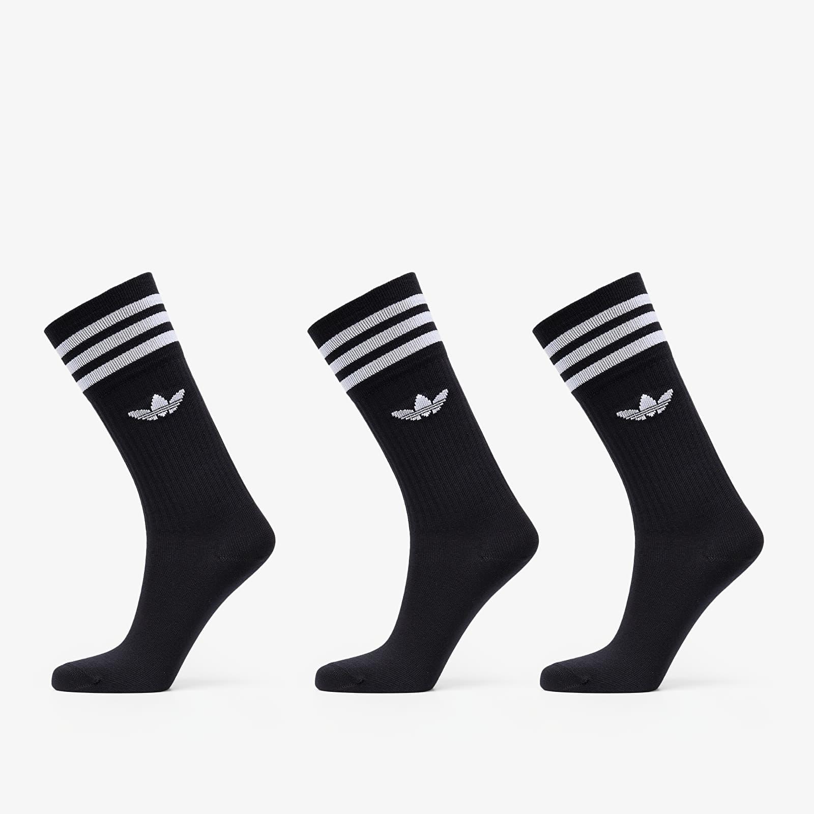 adidas Solid Crew Sock 3-Pack Black/ White EUR 39-42