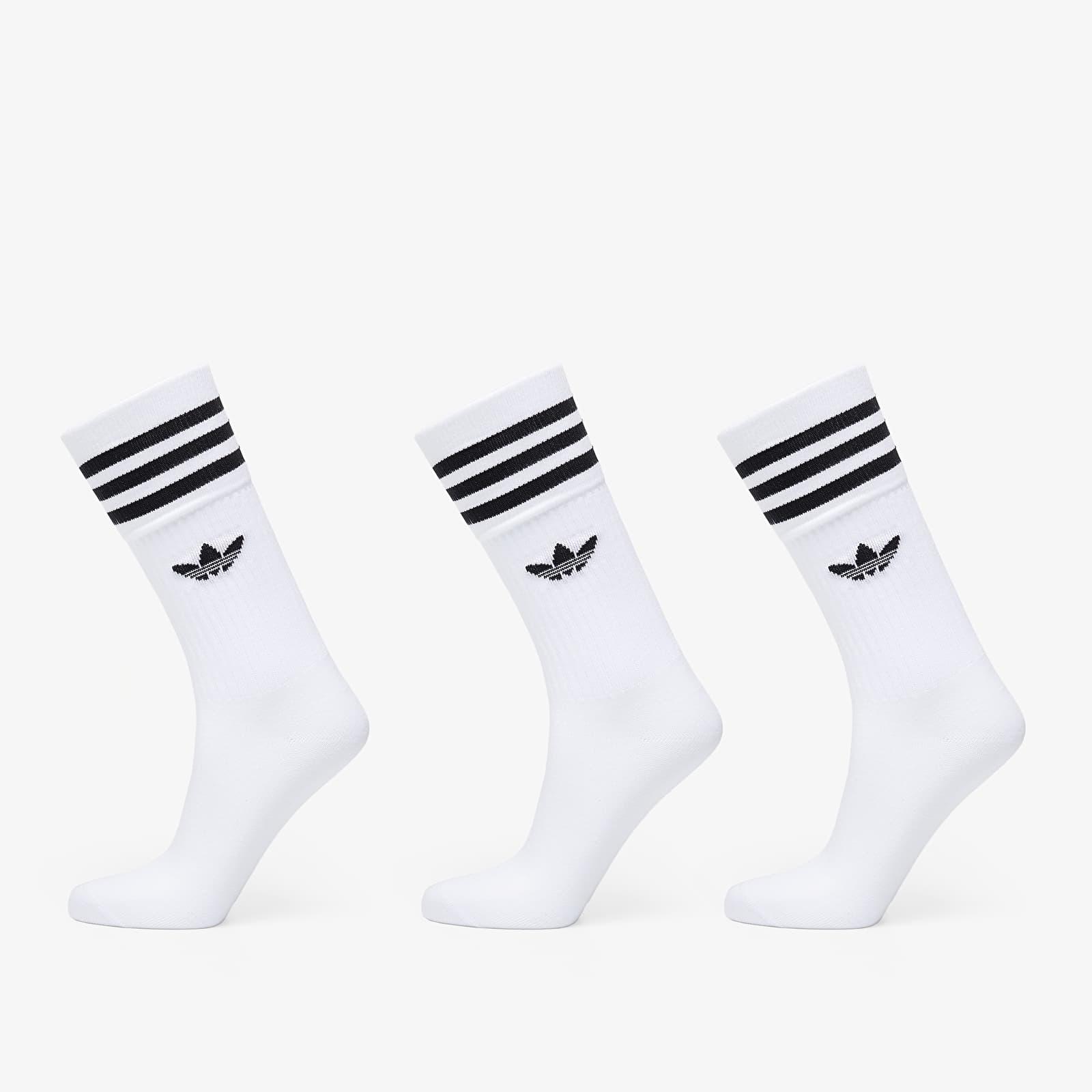 adidas Solid Crew Sock 3-Pack White/ Black EUR 39-42