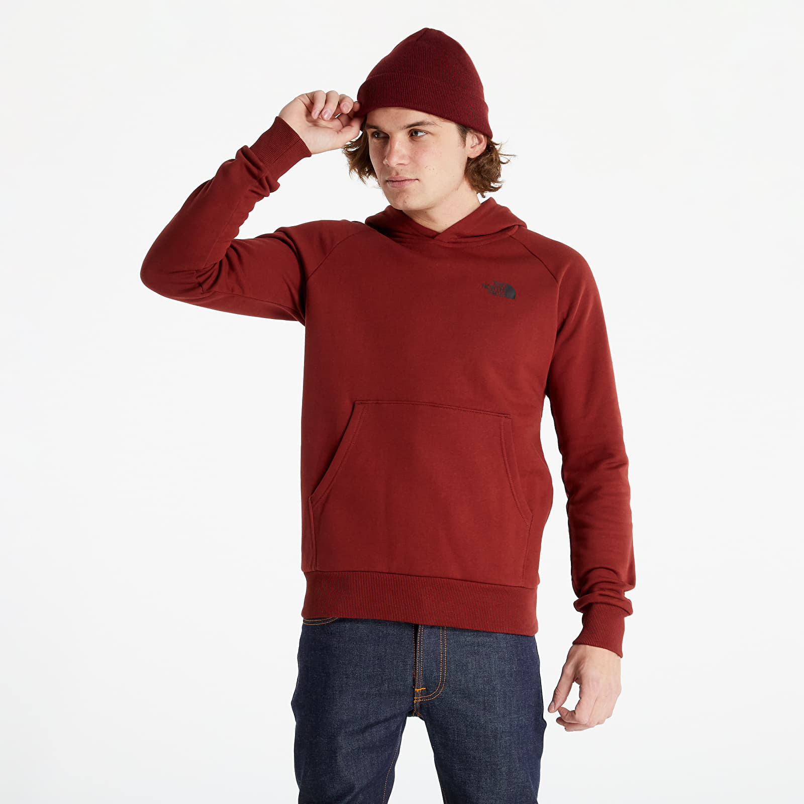 The North Face Raglan Red Box Hoodie Brick House Red M