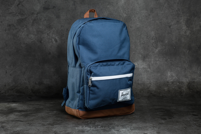 Herschel Supply Co. Pop Quiz Backpack Navy Tan Synthetic Leather | Footshop