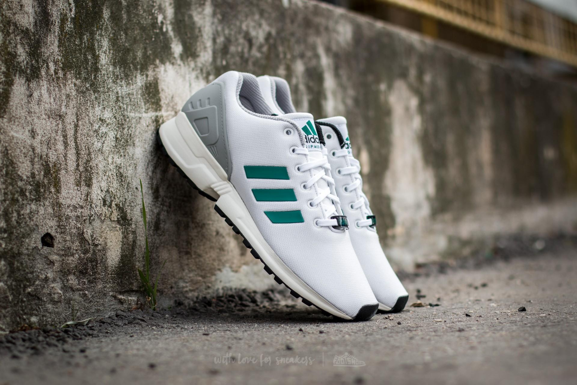 hot sales ee0f1 cbe3d adidas ZX Flux Ftw White/ Sub Green/Chalk White | Footshop