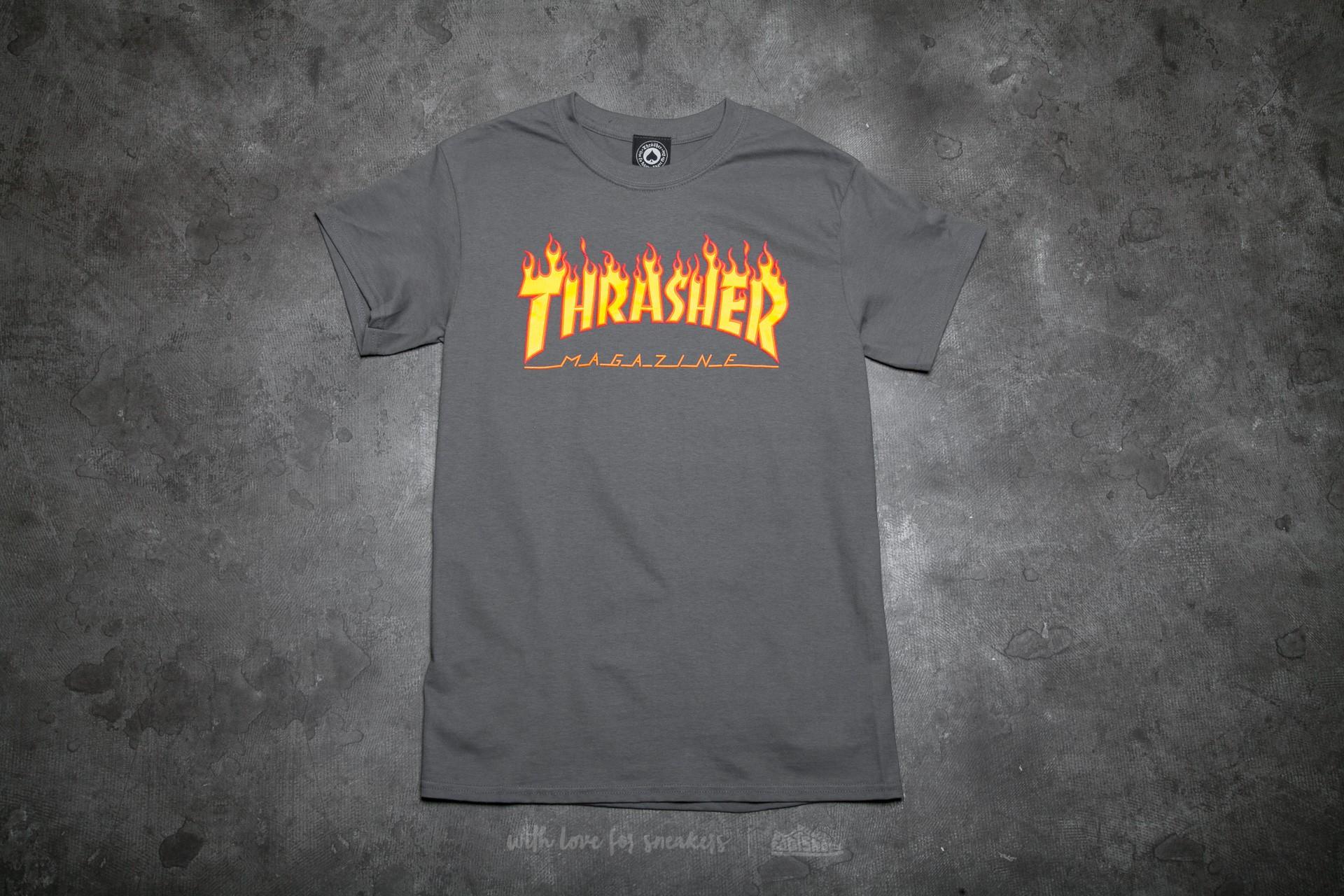 ea9e16f0b3f Thrasher Flame Logo T-Shirt Charcoal Gray