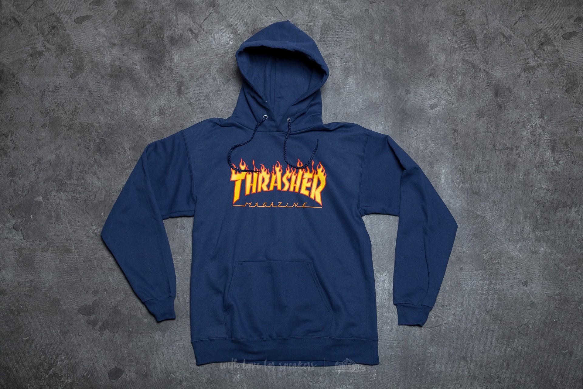 Thrasher Flame Logo Hoodie Navy Blue  39df1ae0050