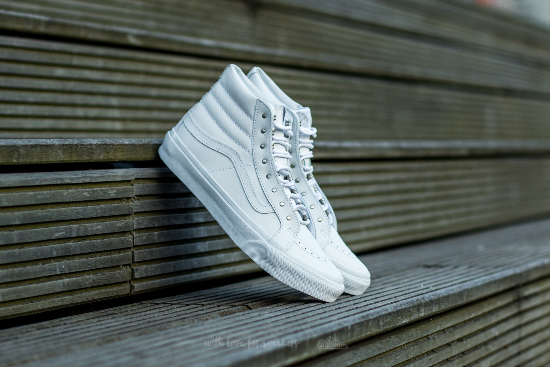5e9343cc75 Vans Sk8-Hi Slim (Rivets) Antique Silver  True White