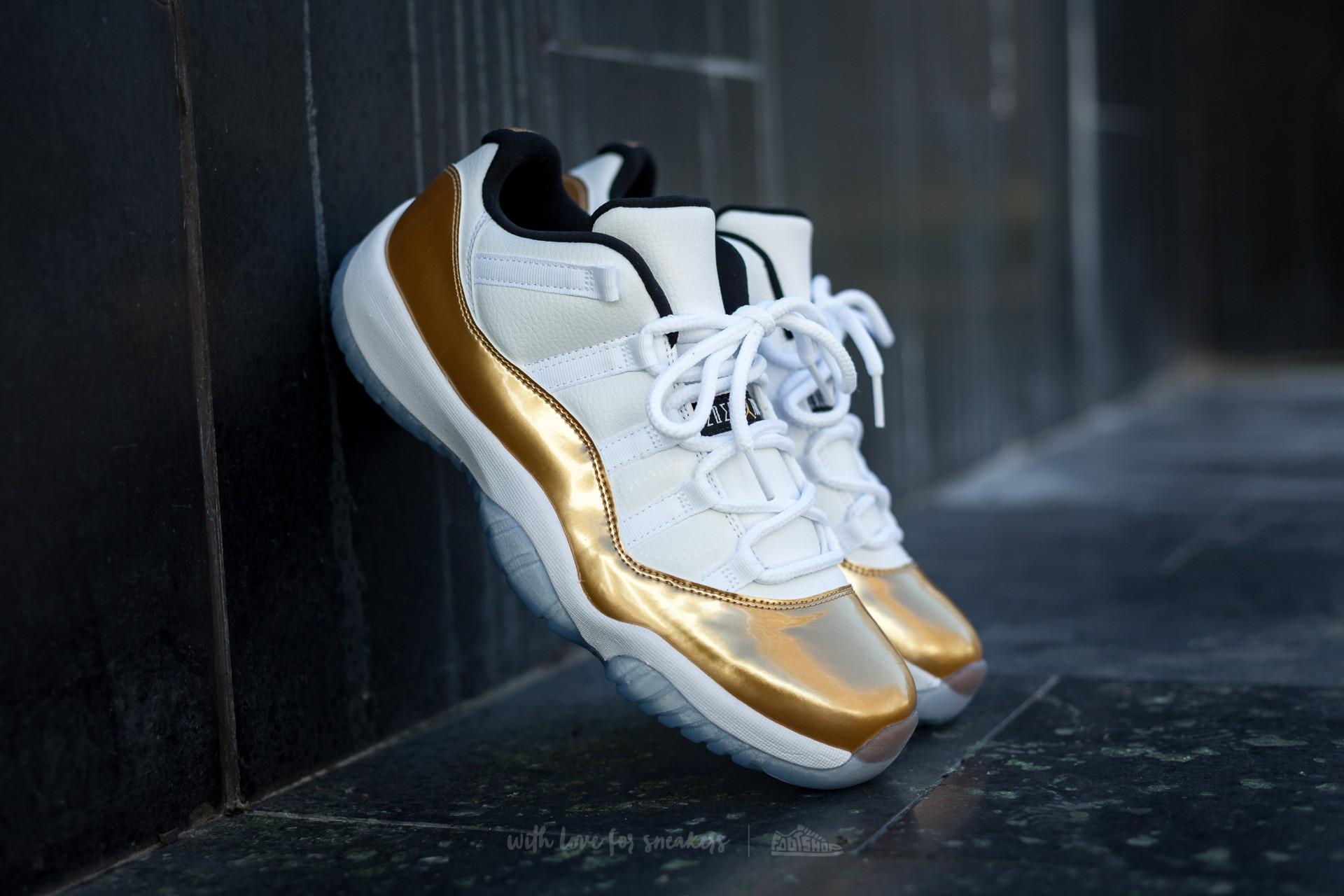 1f6ae76aaee392 Air Jordan 11 Retro Low White  Metallic Gold Coin-Black