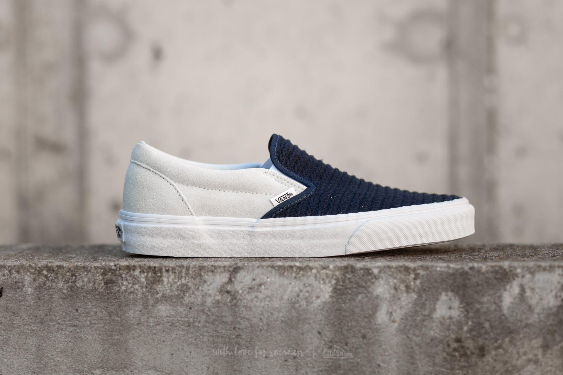 edb5bbb425 Vans Classic Slip-On (Suede/ Woven) Navy Blue/ True White   Footshop