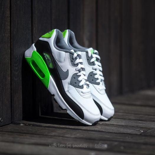 Nike Air Max 90 Mesh (GS) White Cool Grey Electric Green | Footshop