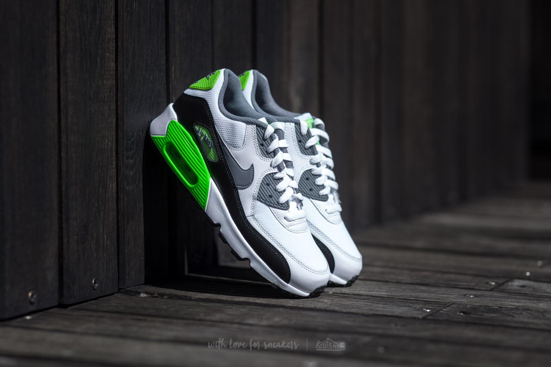 pretty nice 4f190 3e3ed Nike Air Max 90 Mesh (GS). White  Cool Grey-Electric Green