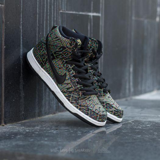 Nike Dunk High Premium SB Black Black Rainbow White
