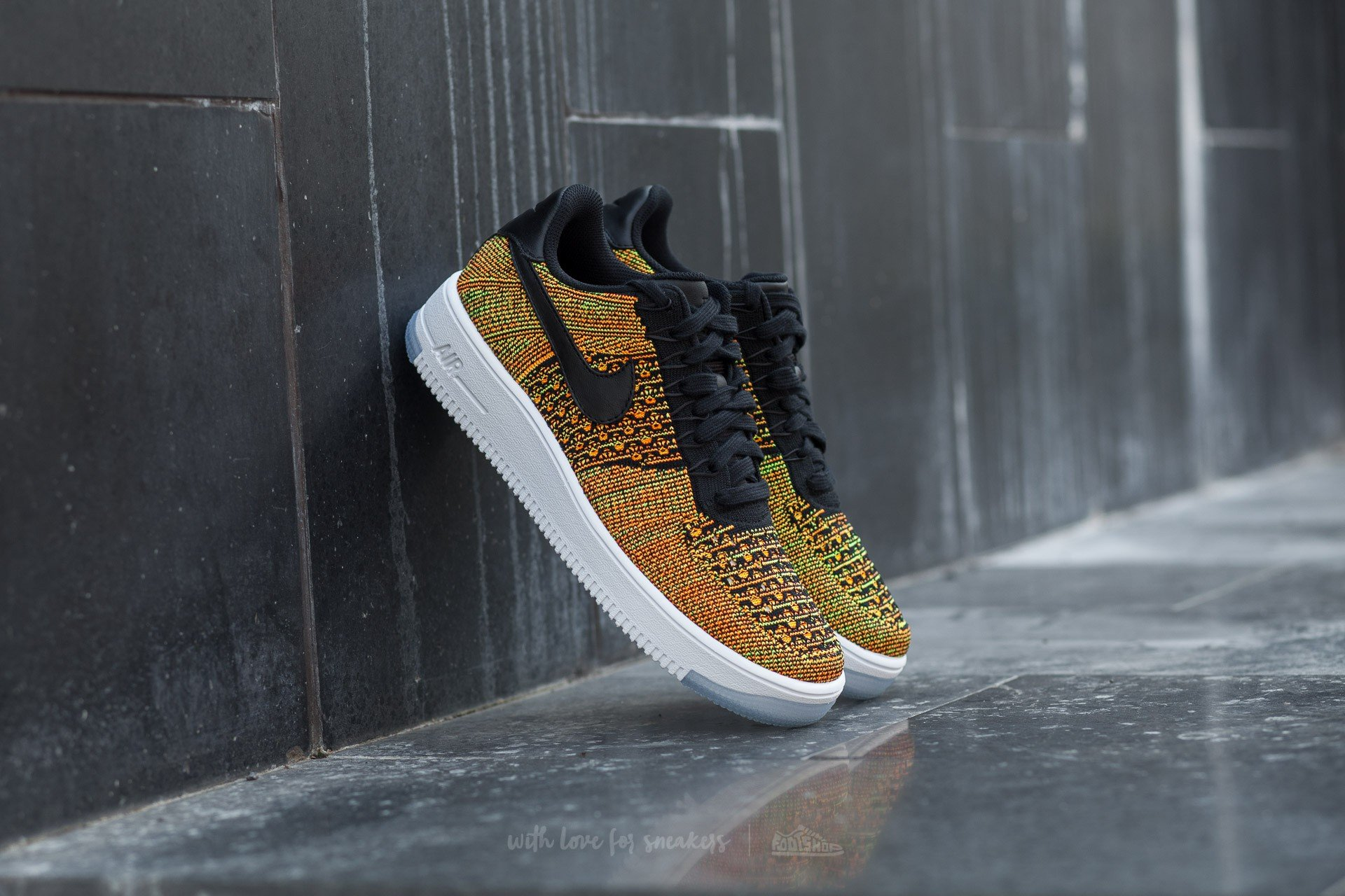 reputable site f6712 6561c Nike Air Force 1 Ultra Flyknit Low. Volt Black-Total Orange-White