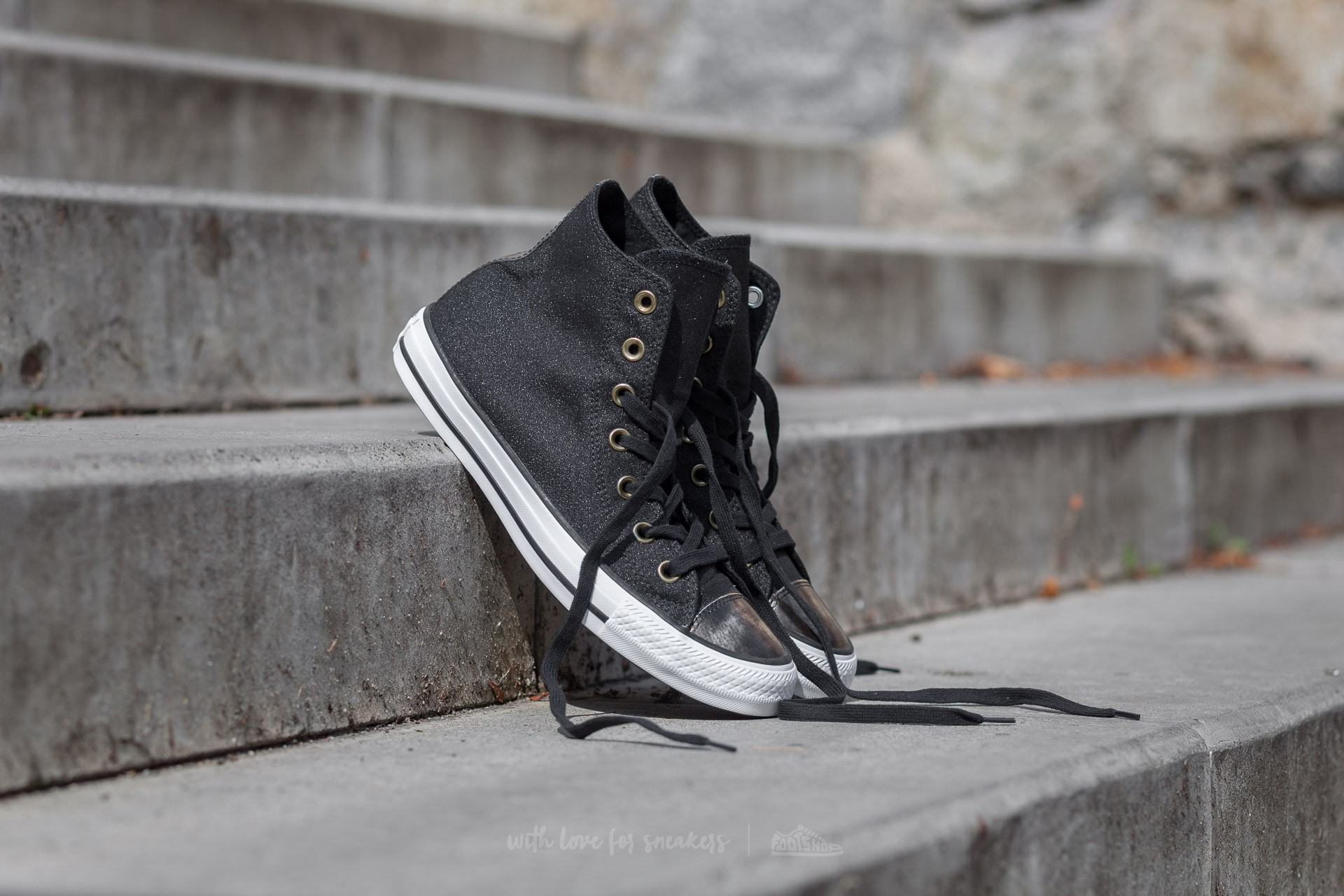 Converse Chuck Taylor All Star Brush Off Leather Toe Cap Black  Light Gold   Black 3950cd4d978