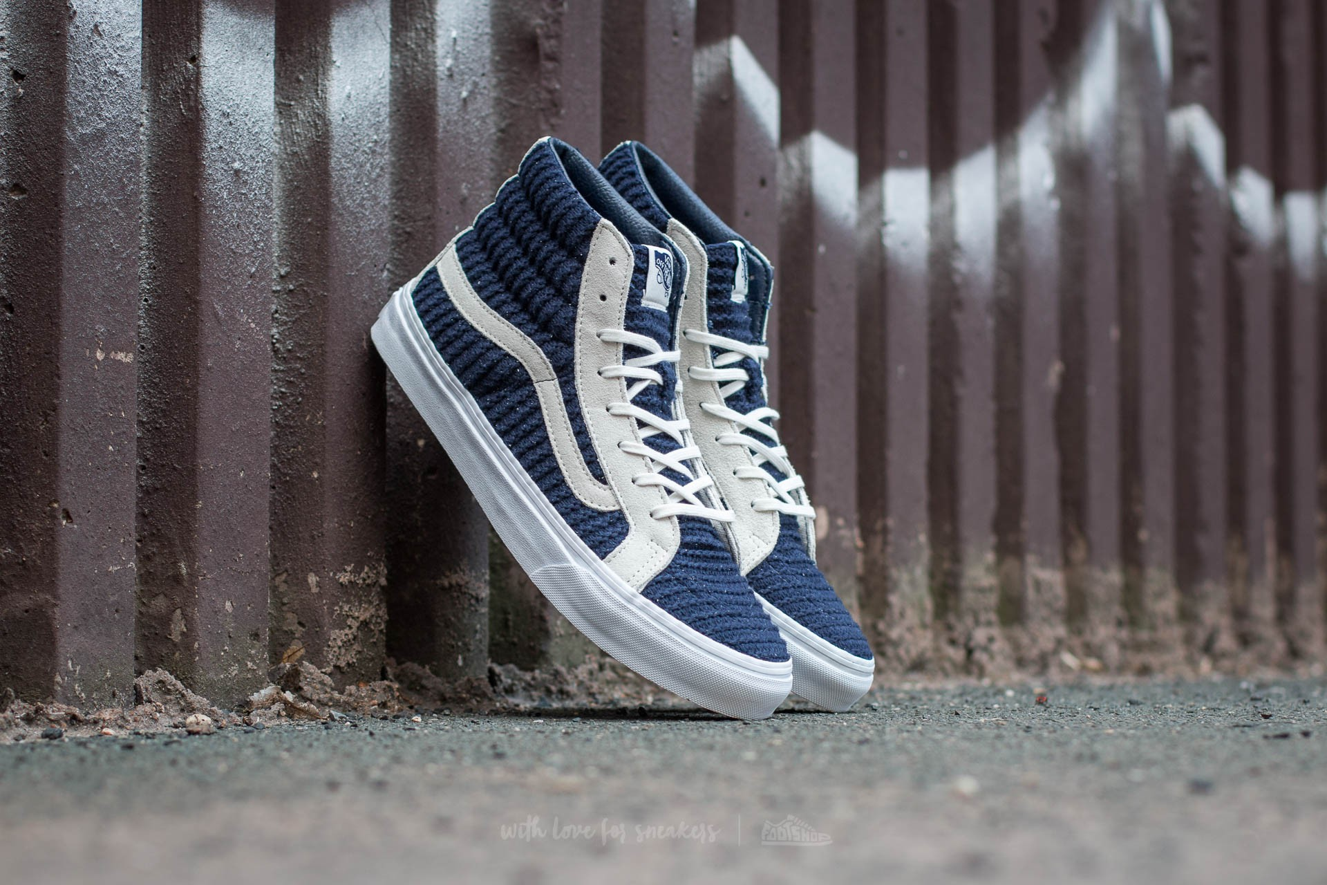 88d92805c2b37e Vans Sk8-Hi Slim (Suede  Woven) Navy Blue  True White