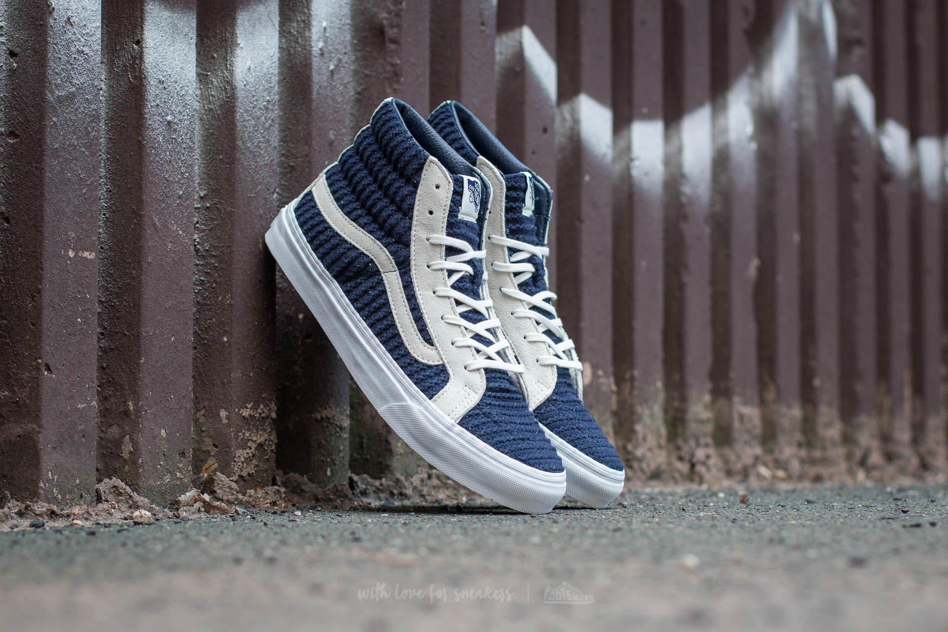 648bac99bdfb49 Vans Sk8-Hi Slim (Suede  Woven) Navy Blue  True White