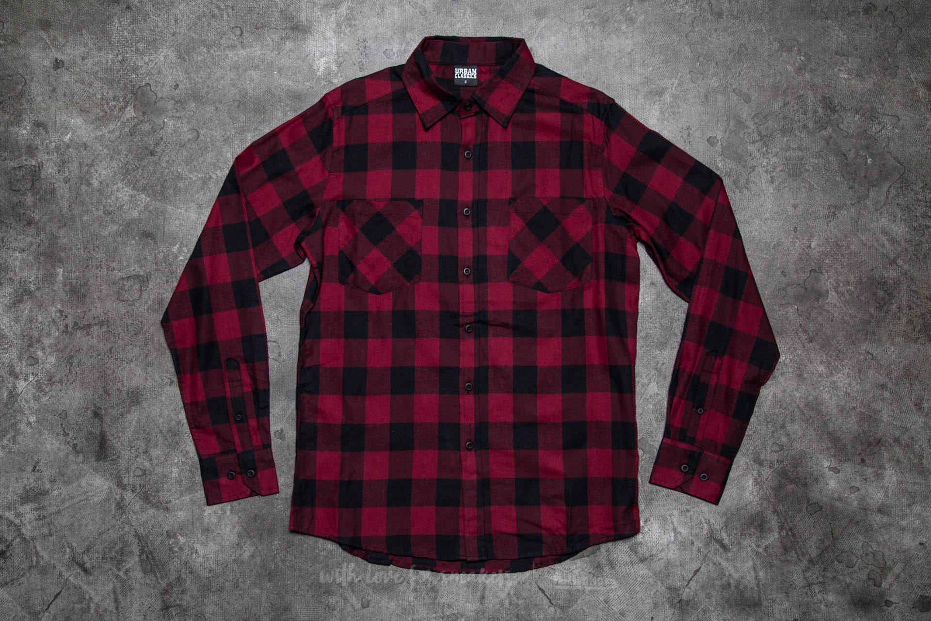 Urban Classics Checked Flanell Shirt Black/ Burgundy