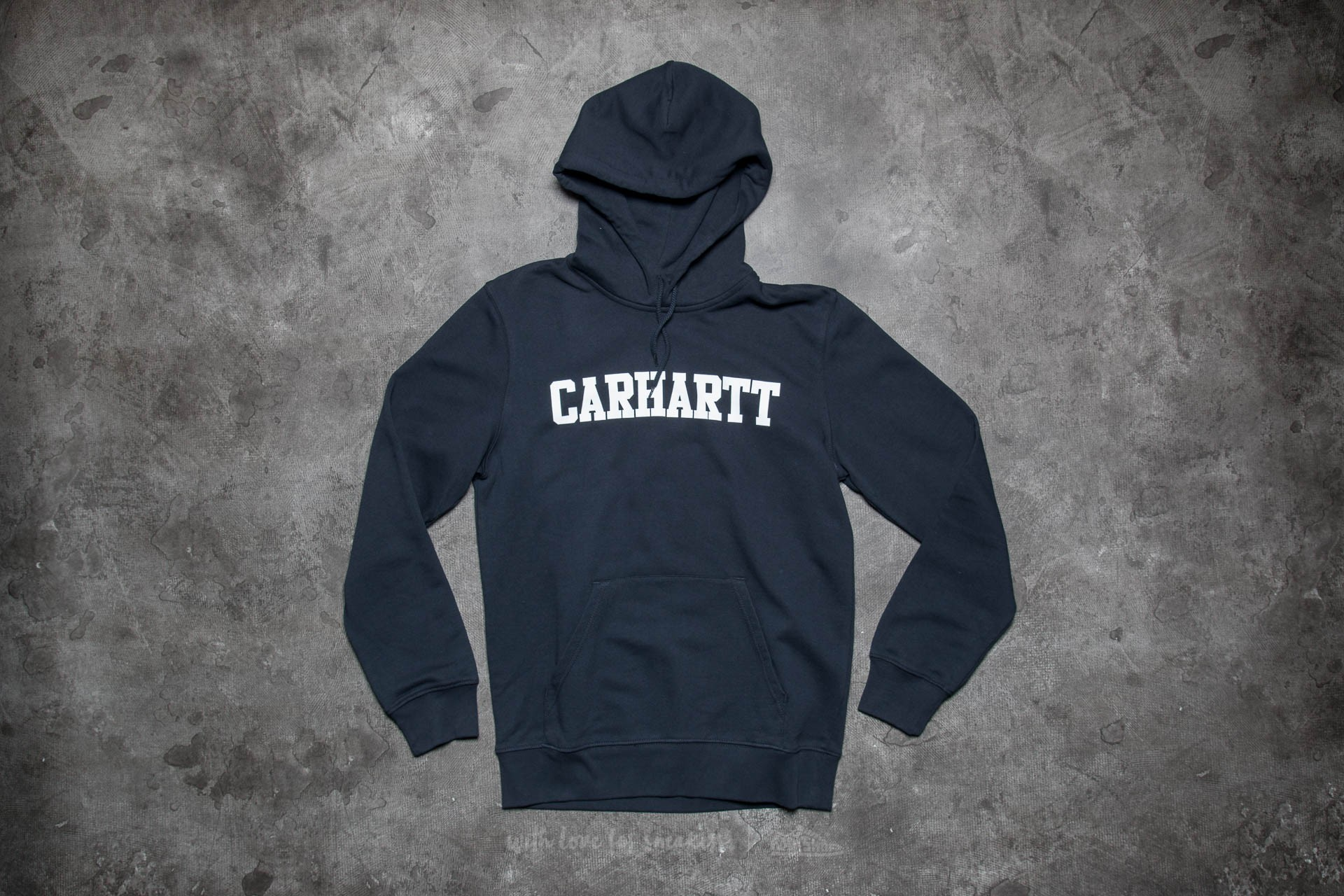 4a9ed487049 Carhartt WIP Hooded College Sweat Navy  White