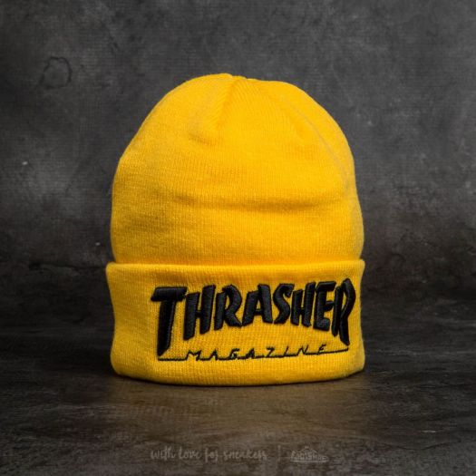 Thrasher Embroidered Logo Beanie Yellow  Black  77ea5168b46