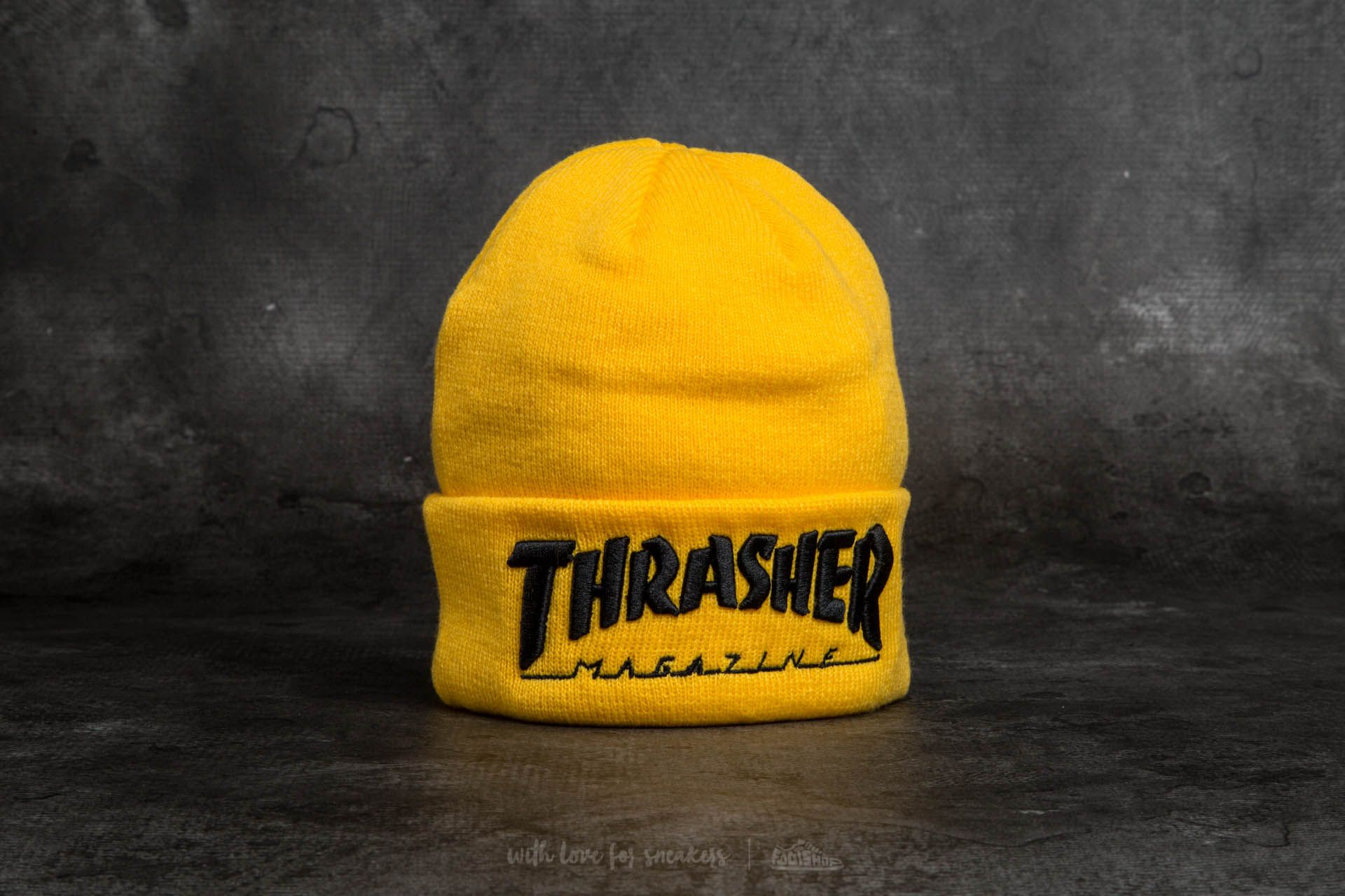 90a040f9f66 Thrasher Embroidered Logo Beanie Yellow  Black