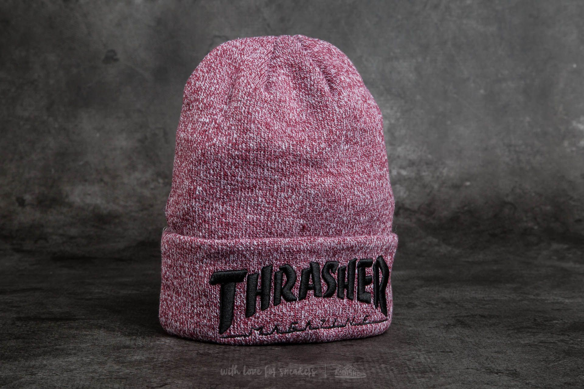 a84274ec2e8 Thrasher Embroidered Logo Beanie Heather Maroon  Black