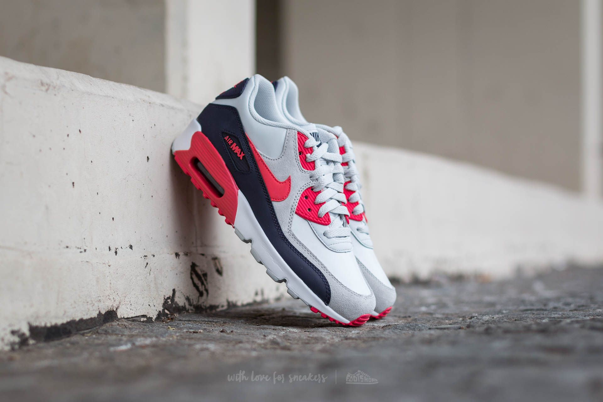 Nike Air Max 90 Leather (GS) Pure Platinum  Ember Glow  Purple Dynasty a1e2dd4b4ec