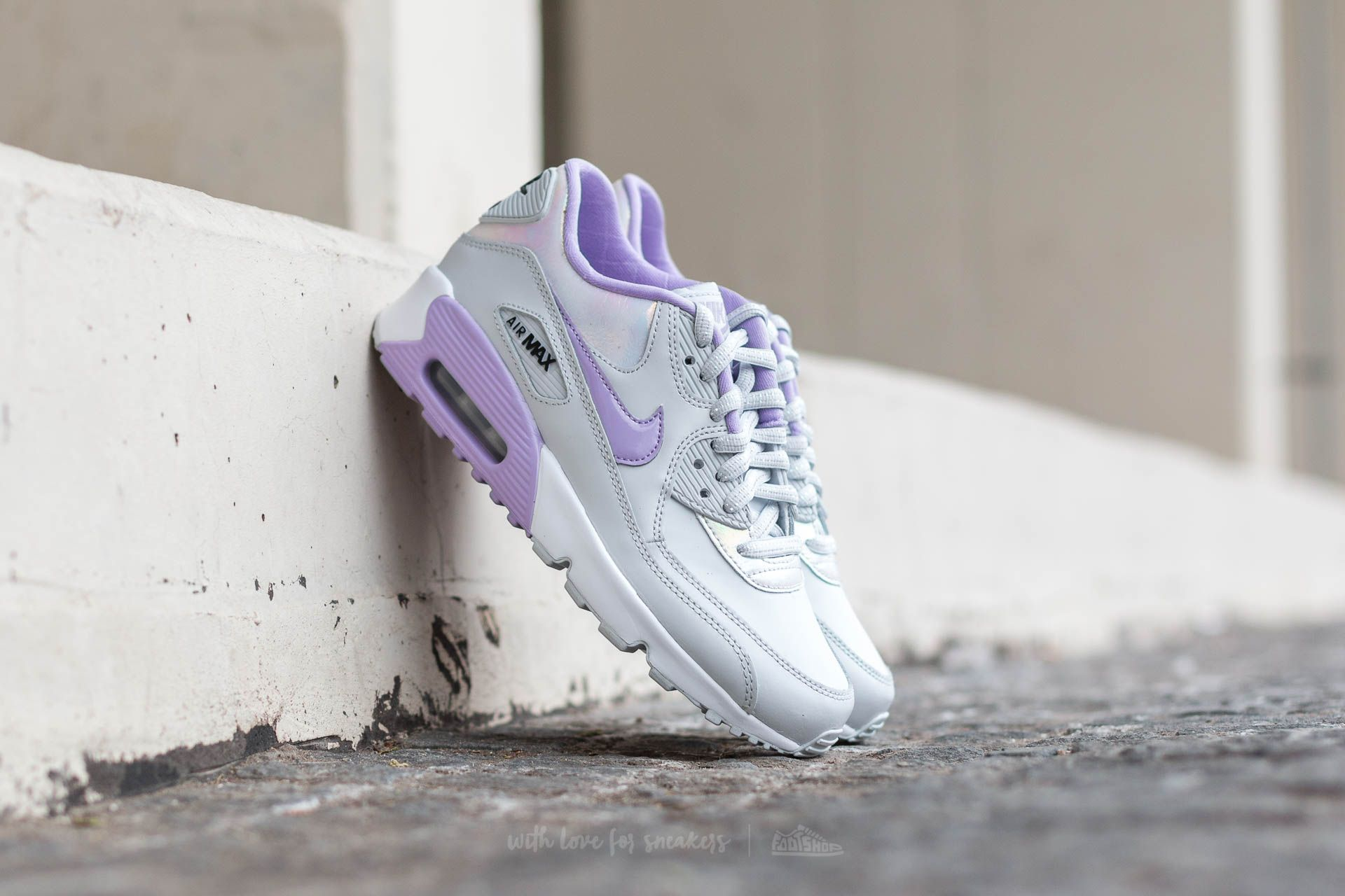on sale 6aa48 0cdab Nike Air Max 90 SE Leather (GS) Pure Platinum  Urban Lilac-Anthracite