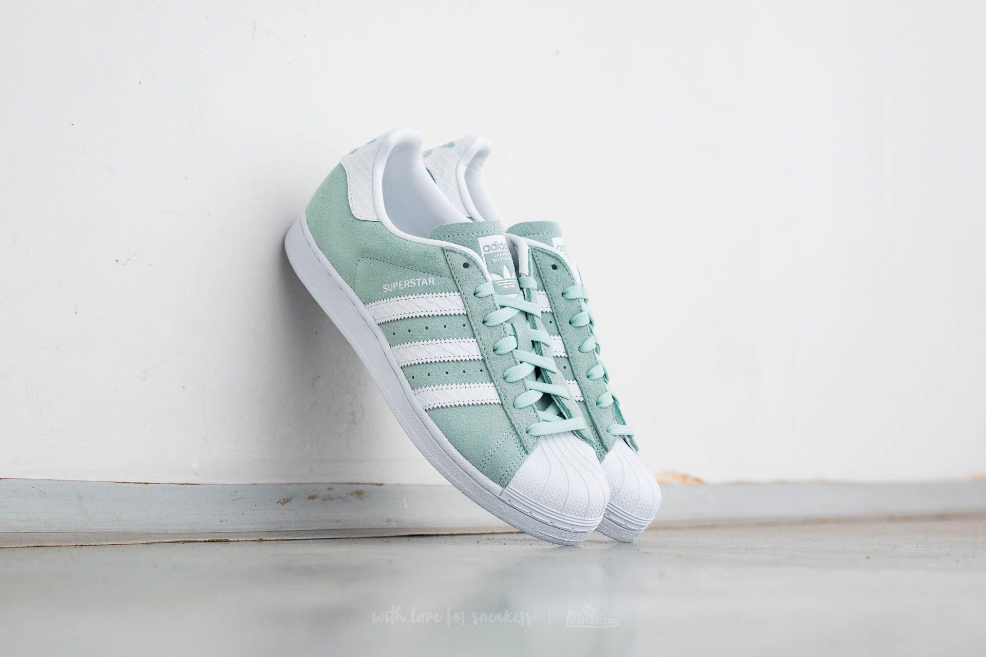 adidas superstar mint green stripes