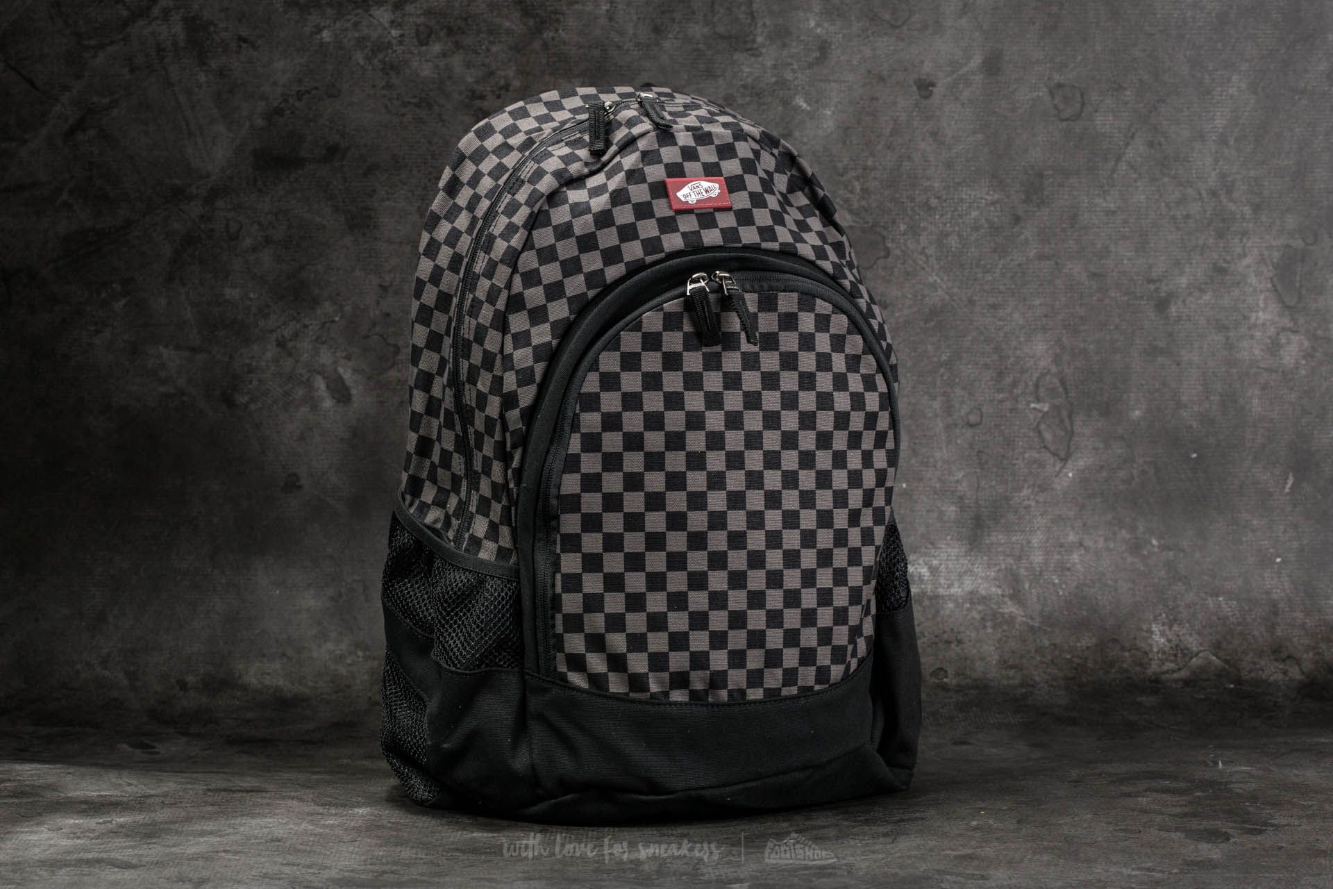 vans checkerboard van doren backpack charcoal/black