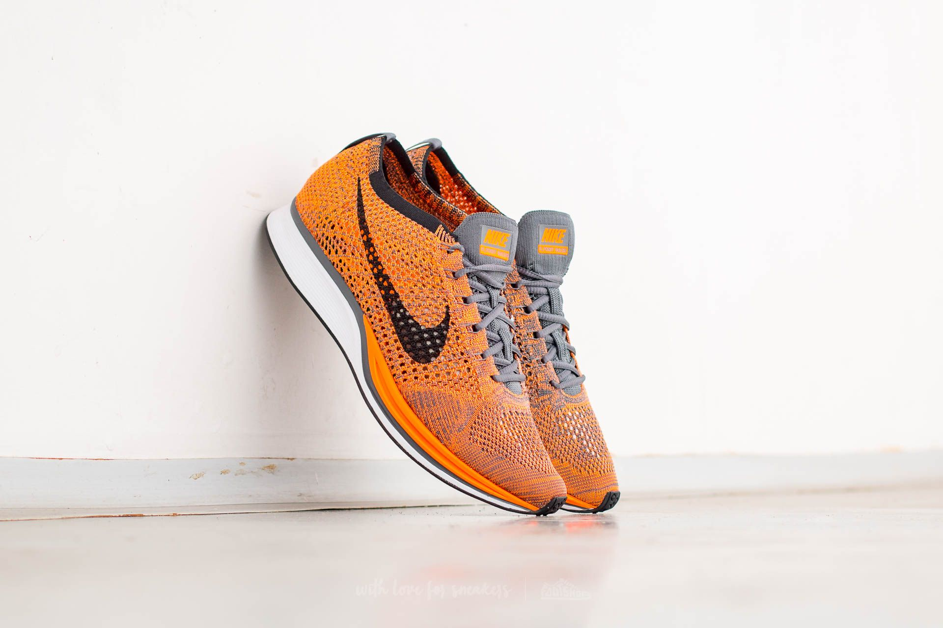 895dced7e3bf3 Nike Flyknit Racer Total Orange  White-Dark Grey