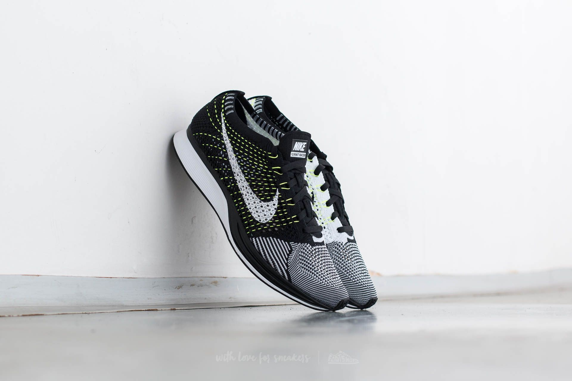 8bf9a0650fe7c Nike Flyknit Racer Black  White-White