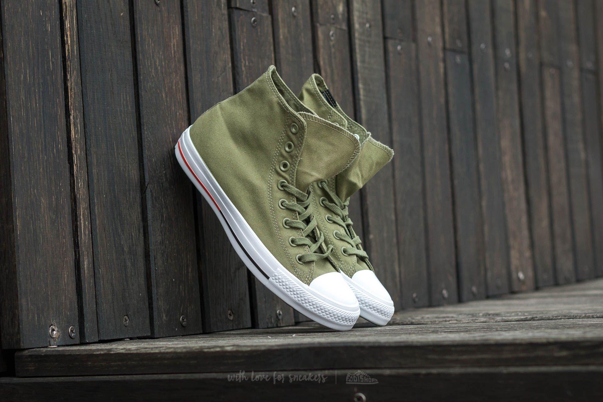 Converse Chuck Taylor AS Hi Fatigue Green  White  Signal Red ... 24e658190