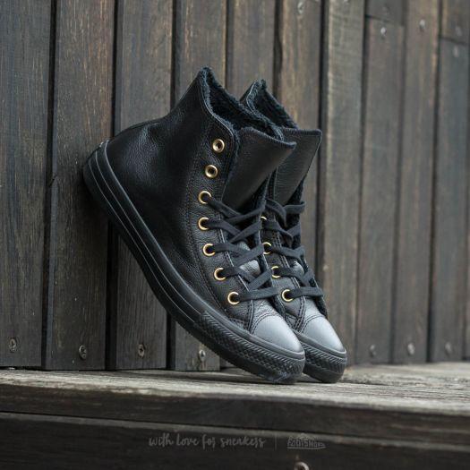 CONVERSE CHUCK TAYLOR ALL STAR Winter Knit+Fur Hi Black Black Black